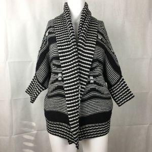 Express Indian Blanket Knitted Cardigan Black Sz M
